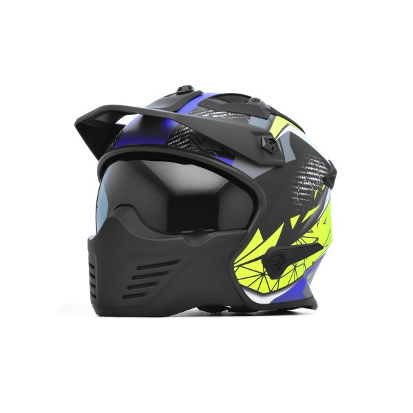 Spada Storm Helmet - Matt Black/Blue/Flo