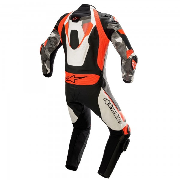 Alpinestars Atem v4 Leather 1 Pc Wh/Blk/Red/Flu/Gry
