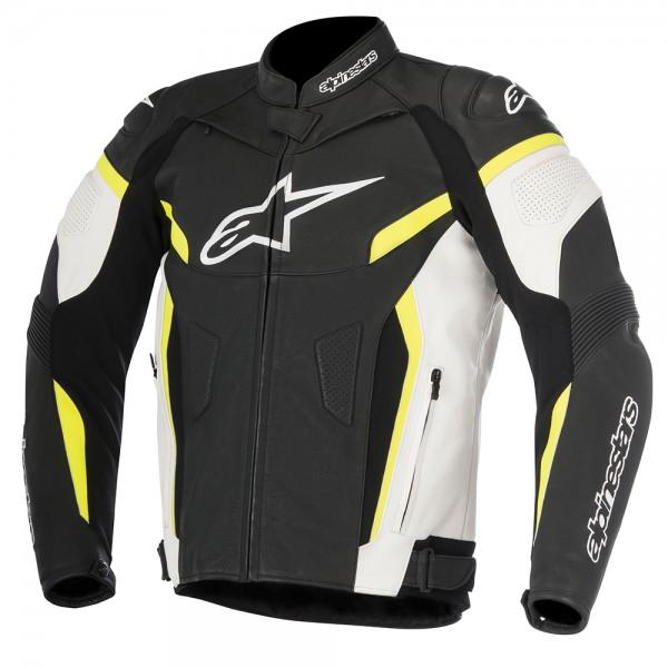 Alpinestars GP Plus R v2 Leather Jacket Black White & Yellow Fluo