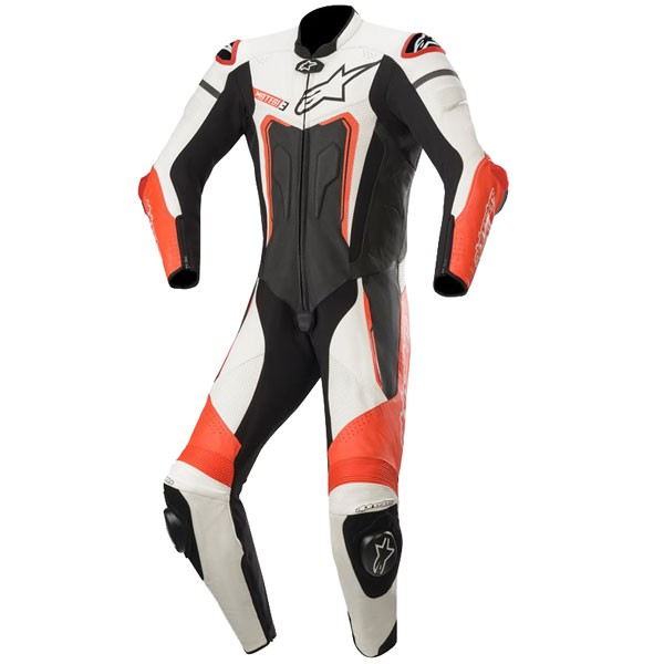Alpinestars Motegi v3 1 Piece  Leather Suit 1  Black White & Red Fluo