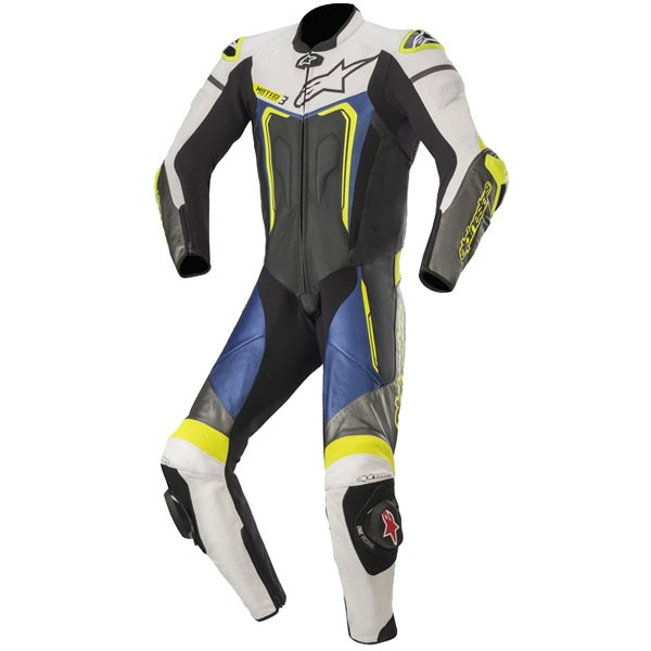 Alpinestars Motegi v3 1 Piece  Leather Suit 1  Black White Metallic Grey & Blue