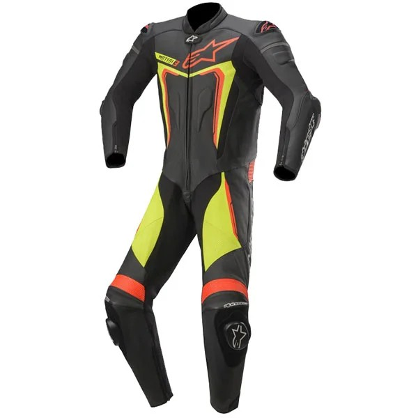 Alpinestars Motegi v3 1 Piece  Leather Suit 1  Yellow Fluo & Red Fluo