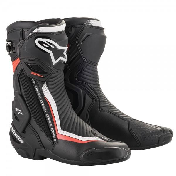 Alpinestars SMX Plus v2 Boots Black White & Red Fluo