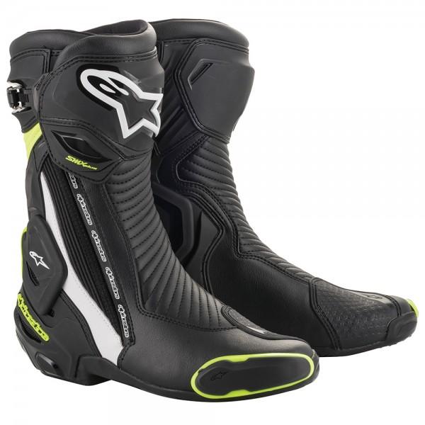 Alpinestars SMX Plus v2 Boots Black White & Yellow Fluo