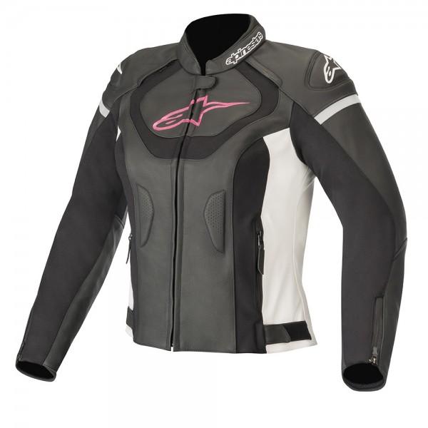 Alpinestars Stella Jaws v3 Leather Jacket - Black/White/Fuchsia