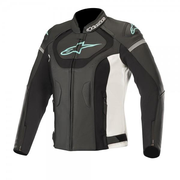 Alpinestars Stella Jaws v3 Leather Jacket Black White & Teal