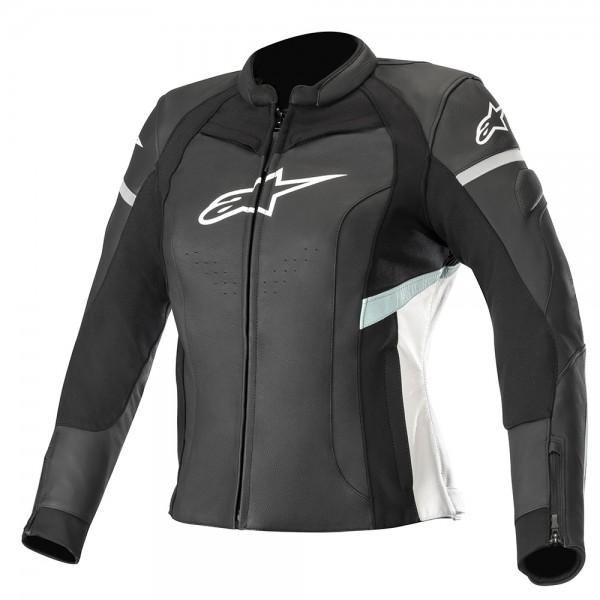 Alpinestars Stella Kira Leather Jacket Black White & Teal