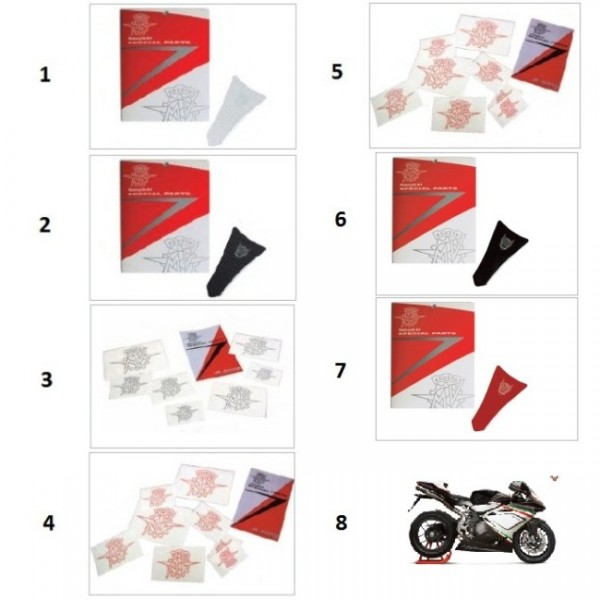 MV logos decal kit red (8pcs)
