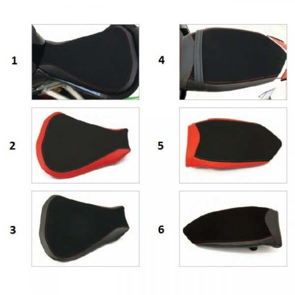 Seat rider no-slide leather/neoprene red F4 Y10