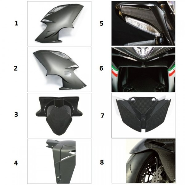 "Tail fairing lights cap carbon fibre ""Strada"" F4 Y10 gloss finish"