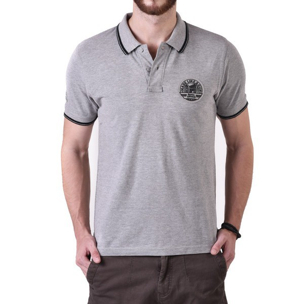 Royal Enfield Pin Stripe Tipping Polo Shirt Grey