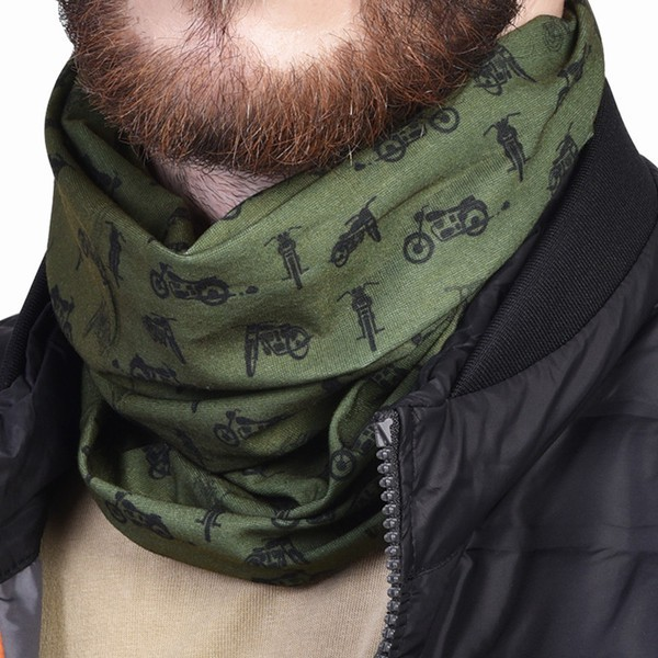 Royal Enfield Motorcycle Print Head Gear Olive