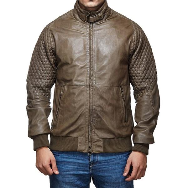Classic Moto Leather Jacket Olive