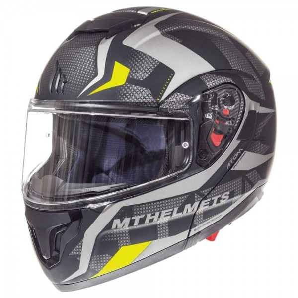 MT Atom Divergence Matt Grey/Flu Yellow Motorcycle Helmet