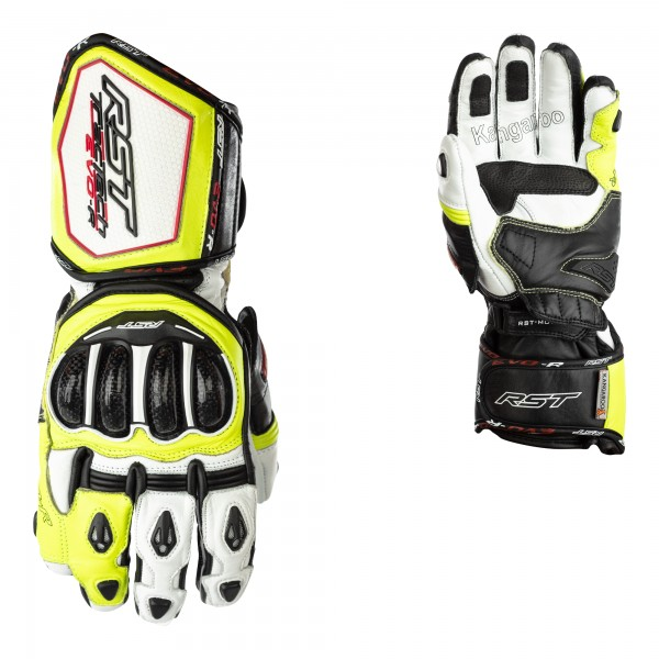RST Tractech Evo R CE Leather Gloves White/Black/Flo Yellow