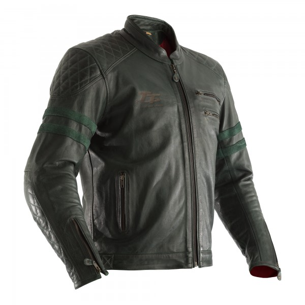RST IOM TT Hillberry CE Mens Leather Jacket Green