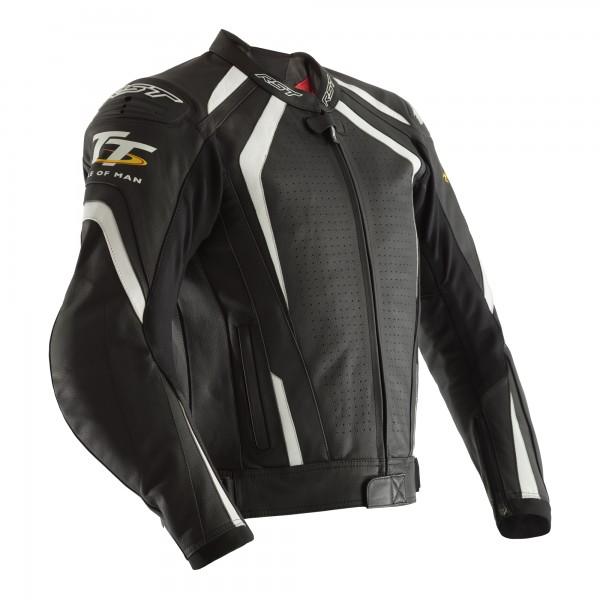 RST IOM TT Grandstand CE Mens Leather Jacket Black / White
