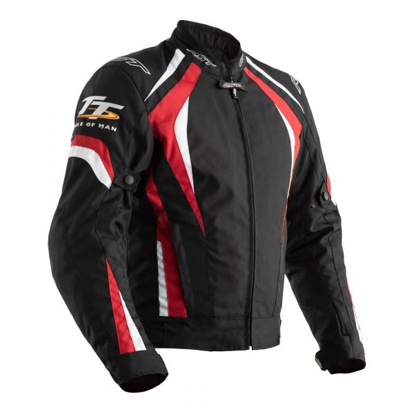 RST IOM TT Grandstand CE Mens Textile Jacket Black / Red