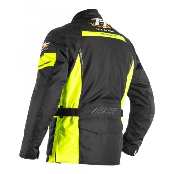 RST IOM TT Sulby CE Mens Textile Jacket Black / Flo Yellow