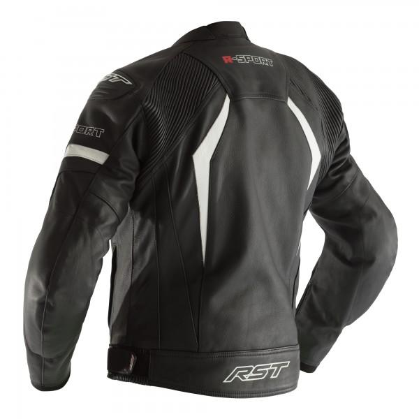RST R-Sport CE Mens Leather Jacket Black / White