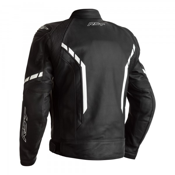 RST Axis CE Mens Leather Jacket Black / Black / White