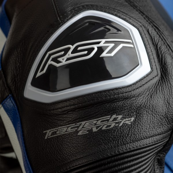RST Tractech Evo R CE Mens Leather Jacket Black / Blue / White