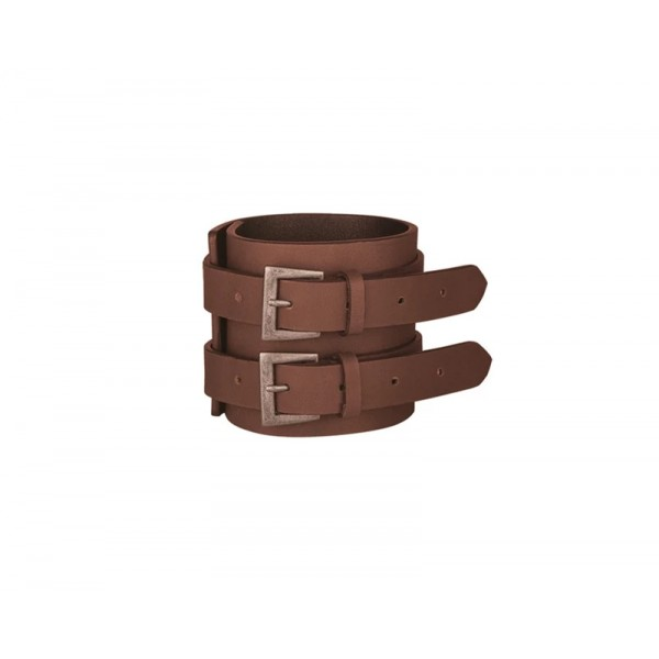 Indian Double Strap Leather Cuff, Brown