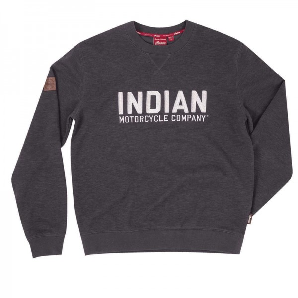 Indian Pull-Over Sweatshirt with Block Logo - Charcoal