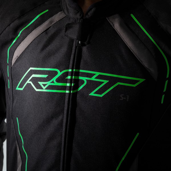 RST S-1 CE Textile Jacket Black/Grey/Neon Green