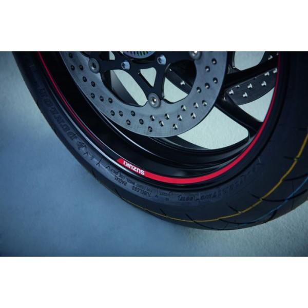 Suzuki GSX-S1000F Wheel Decal Outer Red/Clear (single Wheel)
