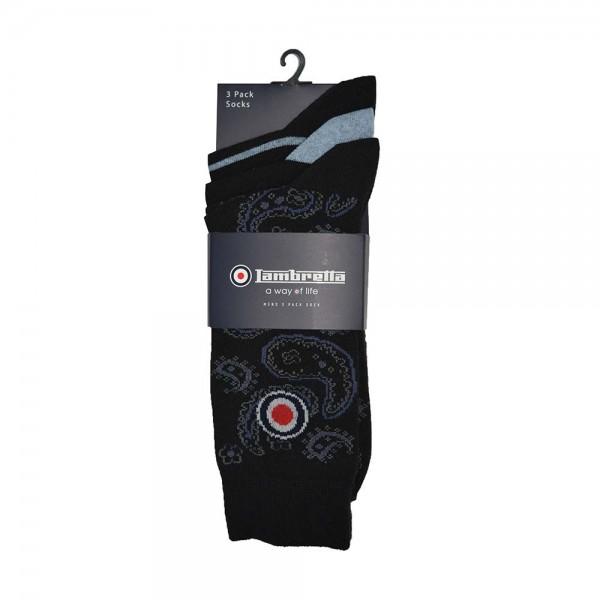 Lambretta 3 Pack Of Socks Paisley Black/Light Indigo