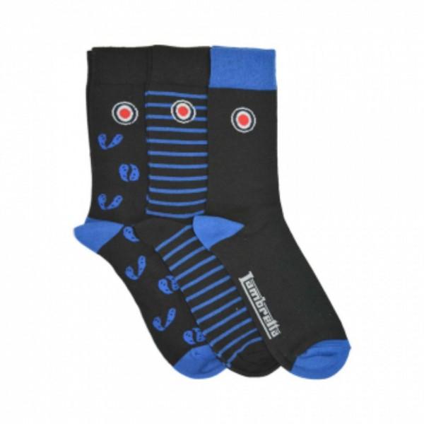 Lambretta 3 Pack Of Sock Paisley Black/Blue