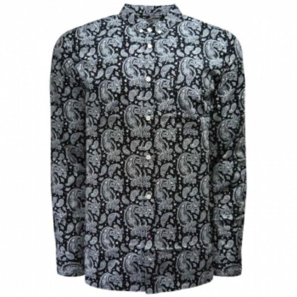 Lambretta Paisley Long Sleve Shirt Black