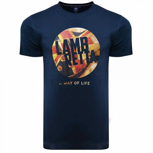 Lambretta Union Jack Guitar T-Shirt Navy