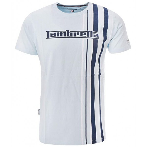 Lambretta Multi Strip Stripe T-Shirt Cool Blue