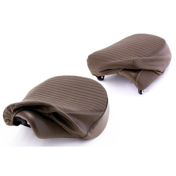 Royal Enfield Meteor Seat Cover Set, Pleated, Brown KXH00081/B