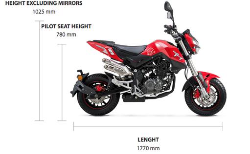 Dimensions TNT 125cc