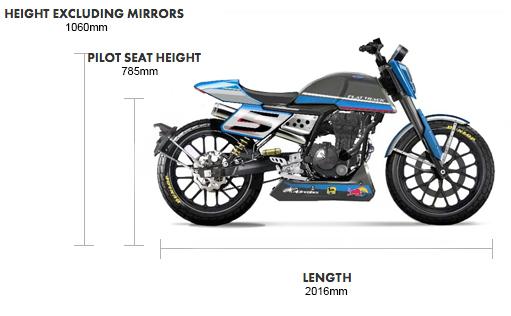 Dimensions Flat Track 125cc