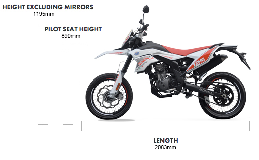 Dimensions SMX Motard 125cc