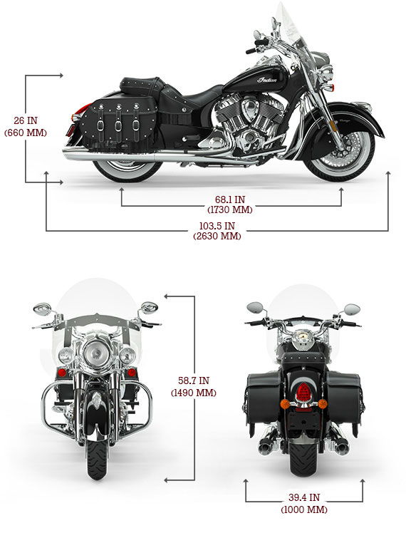 Indian Chief Vintage Dimensions
