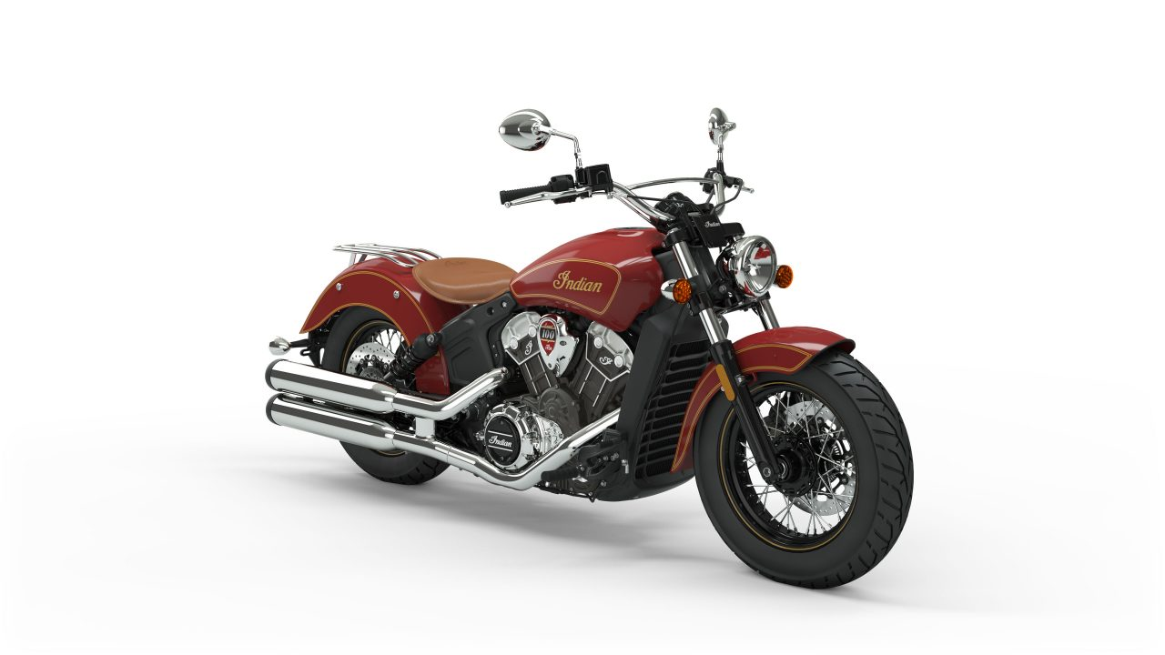 Indian Motorcycle red with gold Scout 100 Year Anniversary