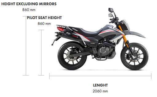 Dimensions TX 125cc E4 Super Moto