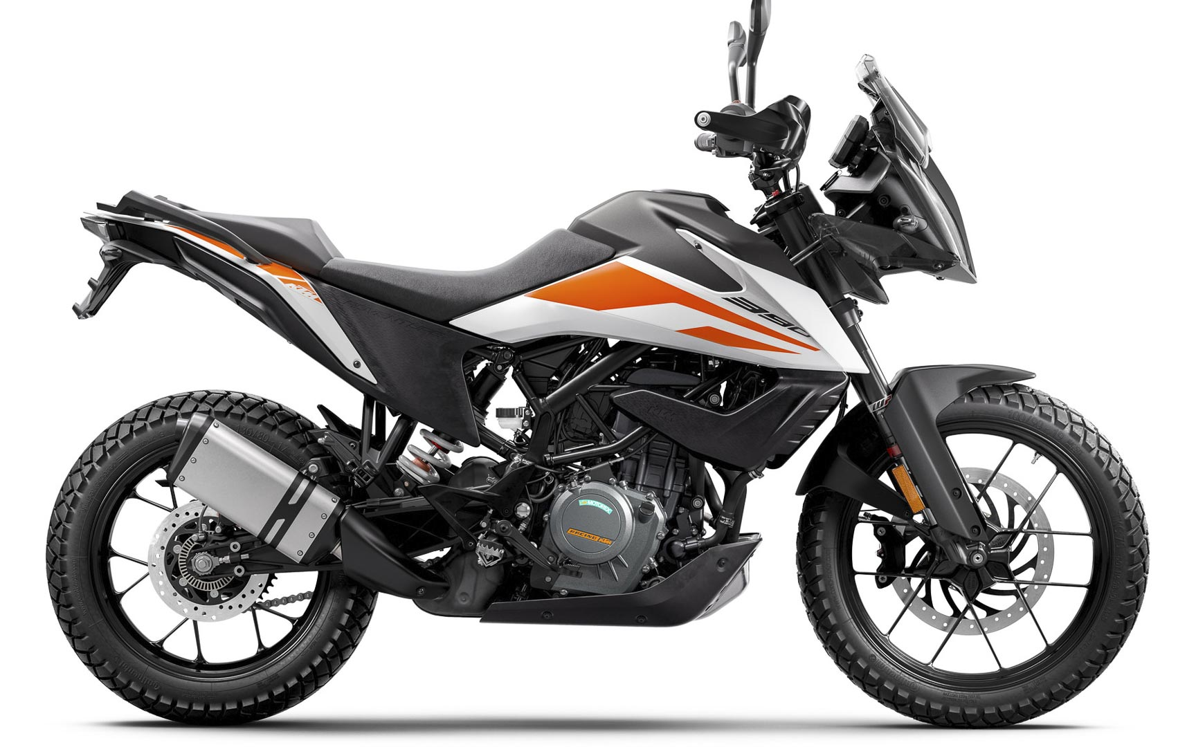 White 2020 KTM 390 Adventure Motorcycle A2 License frien