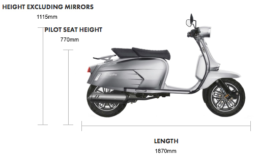 Royal Alloy GP 125 LC Dimensions